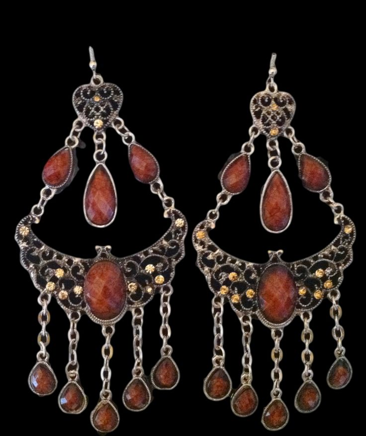 Brown Fashion Dangle Dangling Chandelier Gypsy Style Earrings Jewelry #earrings #chandelierearrings #danglingearrings #brownearrings #fashionearrings #jewlery #fashionjewelry