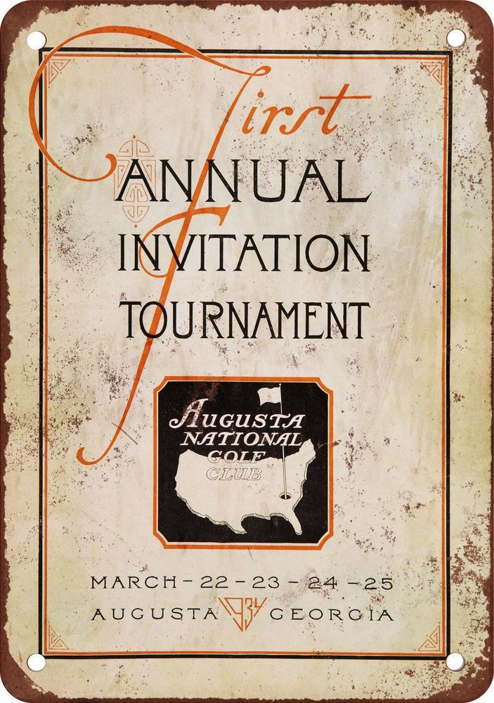 1934 First Masters Tournament Vintage Look Reproduction Metal Sign