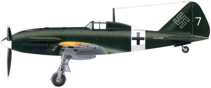 Reggiane Re.2005 Sagittario, Luftdienst Kommando Italien, serial 7, Miniago, Italy, February 1944.