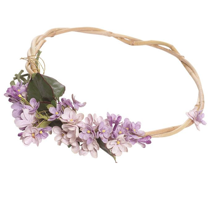 Purple silk flower headband, $50, from #Etsy; Photo by Robert Mitra #weddings