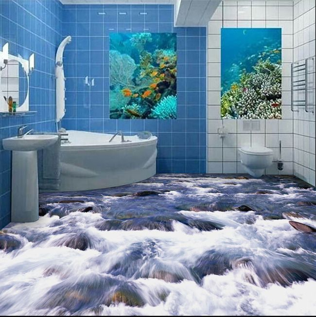 Free Shipping 3D bathroom wall floor self-adhesive wall stickers 3D bedroom floor painting water flooring wallpaper mural(China (Mainland))