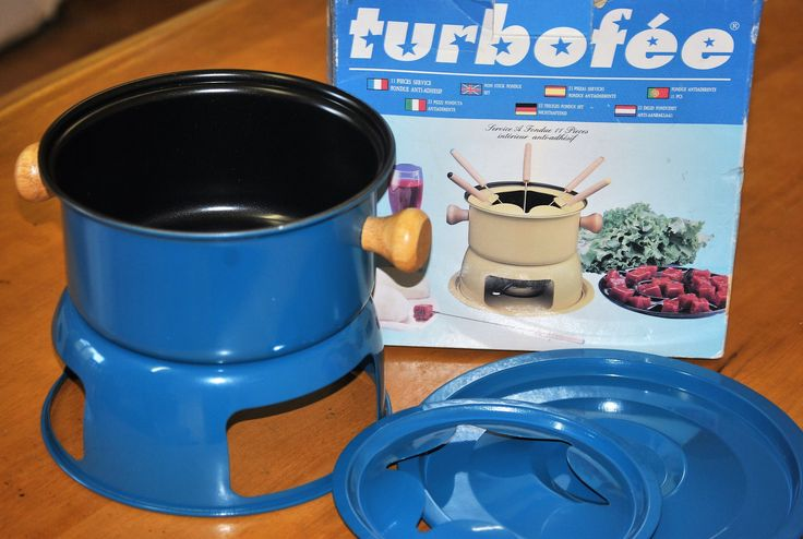 Vintage Fondue Set. Unused in Original Box. Turbofée Non-Stick Set with 6 Forks. Great for Parties and Dinner. Great Retro Household Item! by Joolzandnico on Etsy
