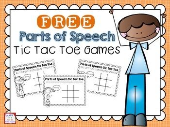 FREE Parts of Speech Tic Tac Toe game boards! Perfect for a literacy center.
