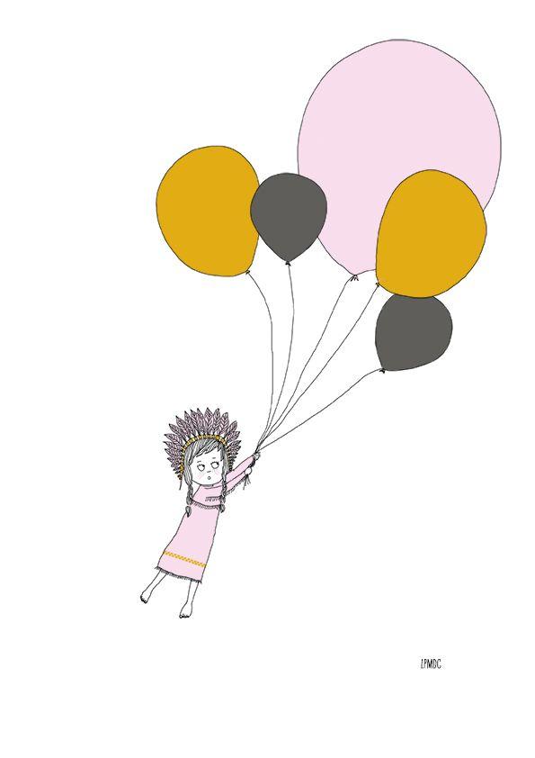 """""""Petite Indienne"""" illustration enfant, indienne, ballons, rose, moutarde, gris, affiche enfant, décoration enfant, LPMDC"""
