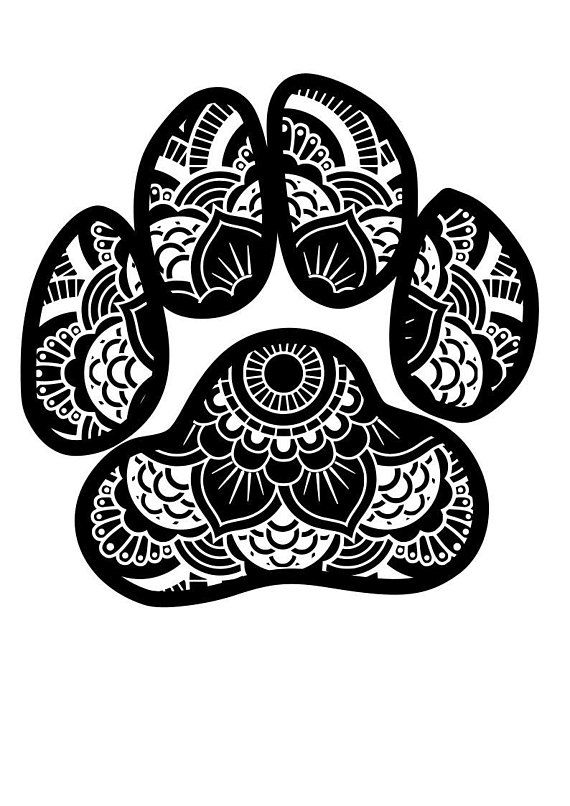 Paw Print Mandala Svg File Quote Cut File Silhouette