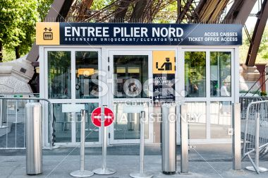 North pillar entry for visiting Tower Eiffel in Paris Royalty Free Stock Photo