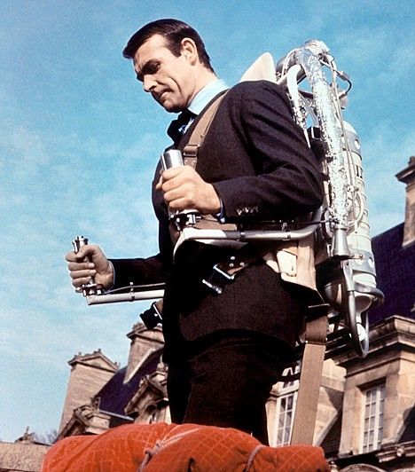 Sean Connery in Thunderball, using a jet pack. Arguably the best Bond gadget of all time for the best Bond of all time.