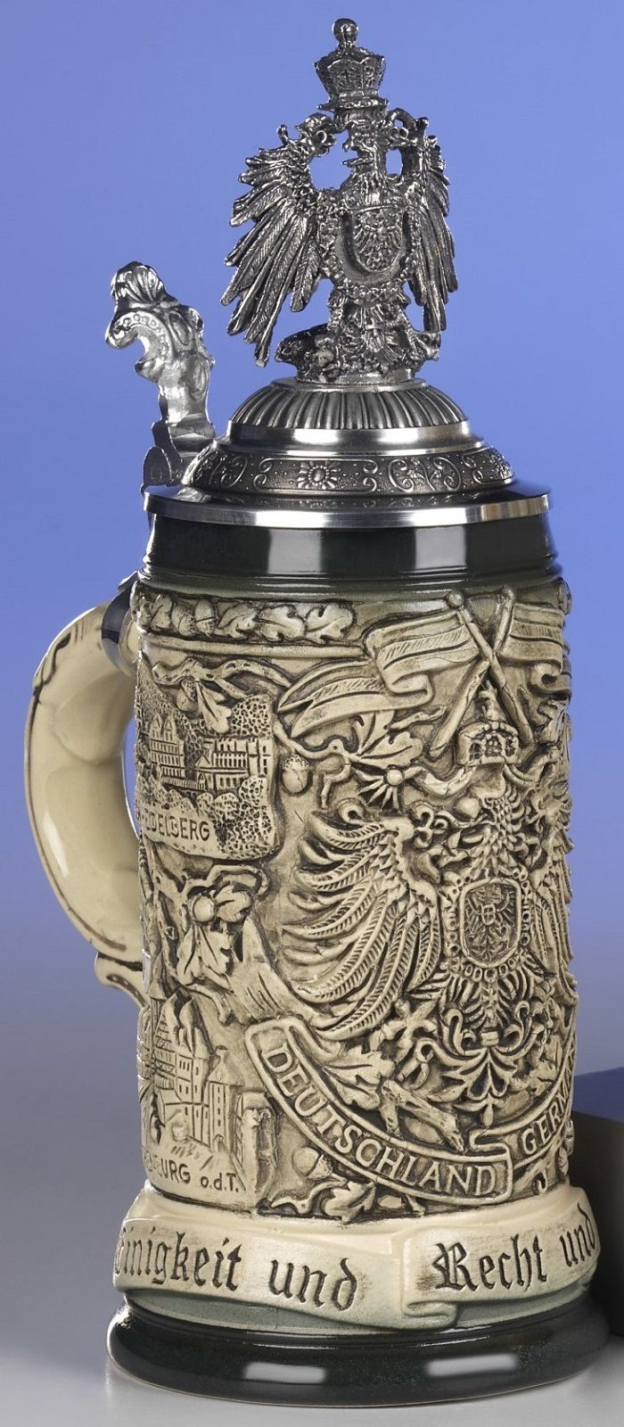 Rustic Deutschland Germany with Pewter Eagle Lid LE German Beer Stein .5 L