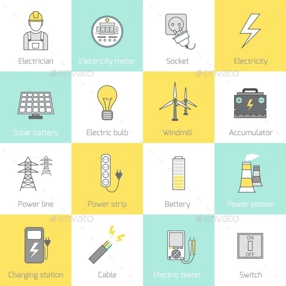 Electricity Icon Flat Line by macrovector Electricity flat line icons set with socket solar battery windmill vector illustration. Editable EPS and Render in JPG format