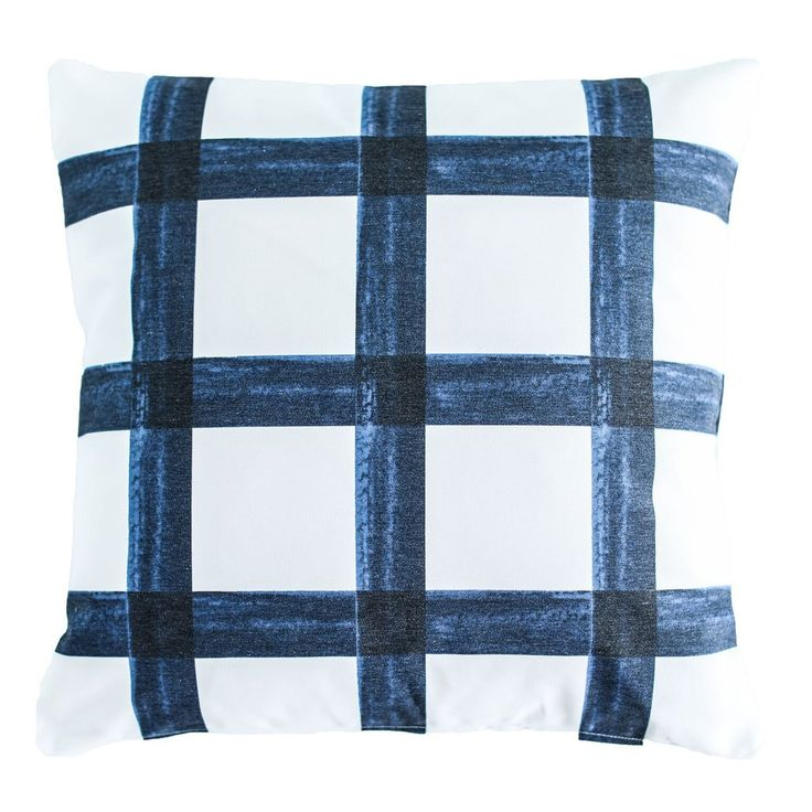 Brushstroke Plaid Pillow - Navy  .  pillow, plaid, cute pillow, home decor, home design, home, style, navy, navy plaid, pillowcover, pillow cover, shop, style