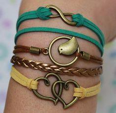 Pulsera de corazón, pájaro pulsera, pulsera de Infiniti, figura 8 gamuza--antiguo bronce pulsera, pulsera de cuero oro--mejor regalo elegido...