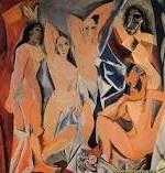 """13.""""Las señoritas de Avignon"""" (1907)obra del malagueño Pablo Picasso, ningun mejor para cerrar mi exposición temporal.  Este óleo sobre lienzo cubista (243,9 x 233,7 cm)representa la mujer en diferentes fases al desnudo, los rostros de cada una lo evidencian. Están representadas partiendo de unos principios donde pretende romper con lo anterior y escenificar la belleza femenina de un modo brusco con cortes geométricos. Museo: Museo de Arte Moderno de Nueva York"""
