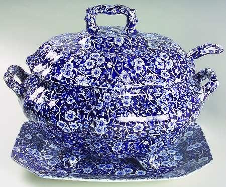 China & Dinnerware Burleigh Blue Calico Tureen Pottery & Glass
