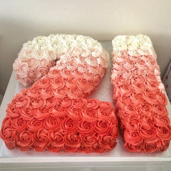 sugar | GALLERY 21 number coral red Ombrè buttercream rosette cake
