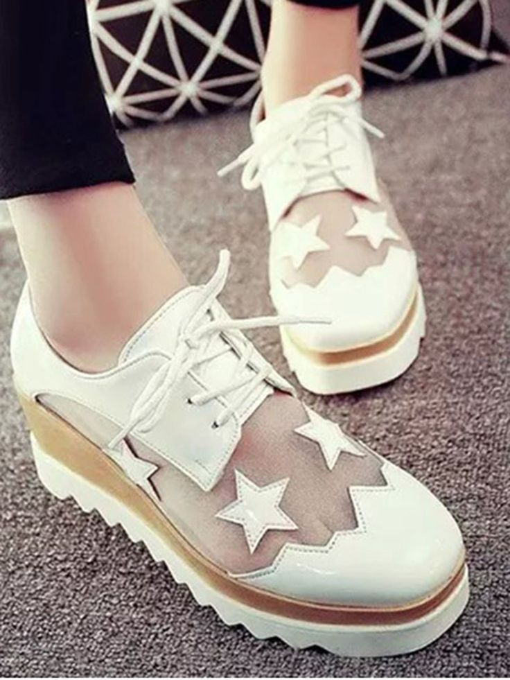 Shop Sneakers - White Wedge Heel Lace-up Summer Casual Sneaker online. Discover unique designers fashion at StyleWe.com.