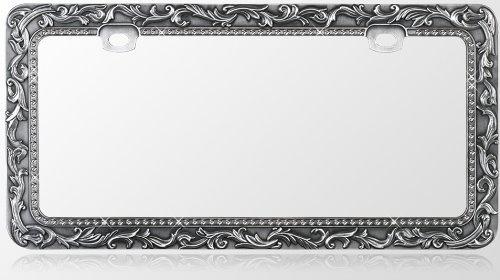 Metal License Plate Frame Vintage Lace Design