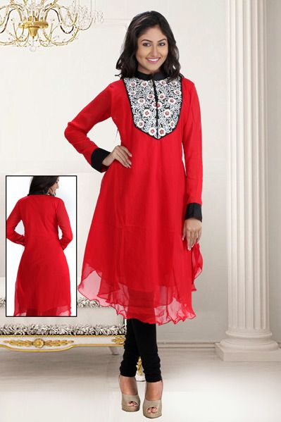 USD 64.28 Red Designer Party Wear Kurti 33007