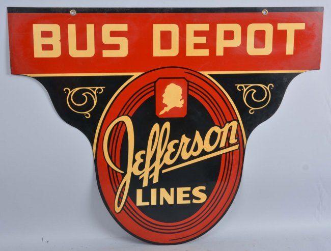 Jefferson Lines Bus Depot Diecut Sign.
