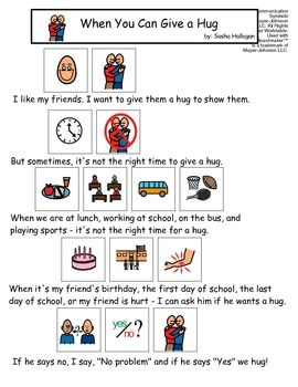 VISUAL SOCIAL STORY PACKET FOR CHILDREN WITH AUTISM: PERSONAL SPACE SET - TeachersPayTeachers.com