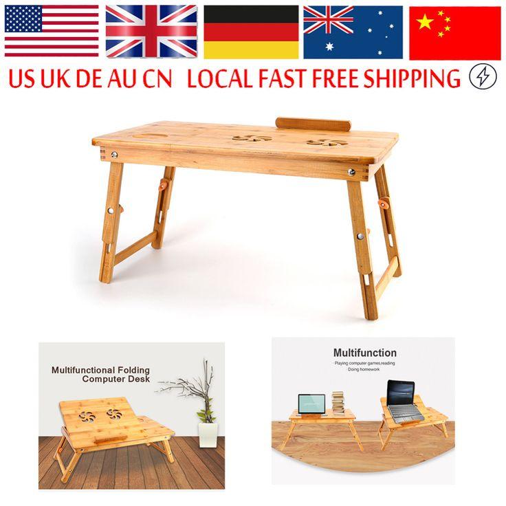 Bambù Stand Portatile Scrivania Tavolo del computer Portatile Moderno Tavolo Notebook Ventola Di Raffreddamento Del Mouse Supporto Del Vassoio Letto