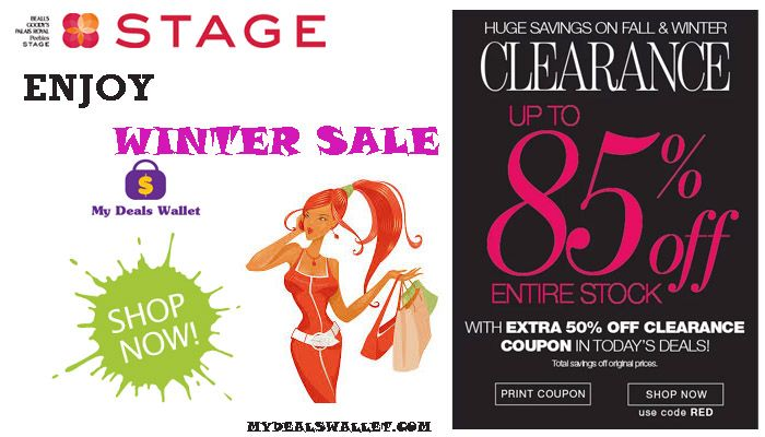 Stack up your savings. #Winter Sale - Save Up to 85% Off On Entire Stock With Extra 50% Off On Clearance Sale at #StageStores. Get huge savings and offers on products at Stage Stores. For More Visit http://www.mydealswallet.com/store/stagestores-coupon-codes.html