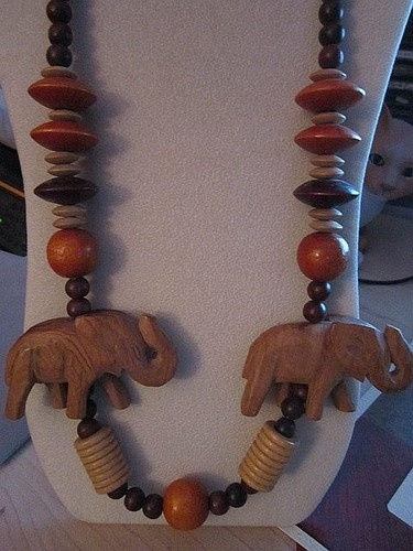 Tribal Large Wood Wooden Necklace Carved Elephants Beaded African Style | eBay