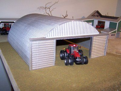1/64 scale Quonset-style shed/shop for a farm toy display