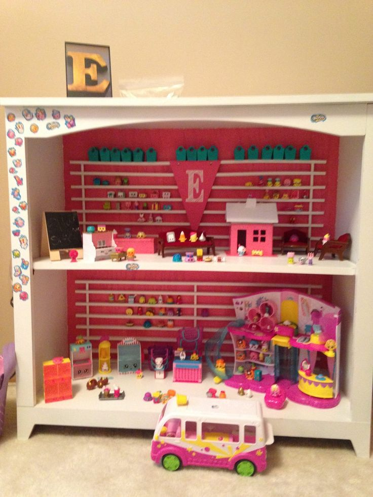 We refurbished an old bookshelf from goodwill into a Shopkins house for our granddaughter.