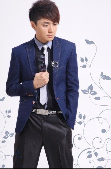 Buy Embellished Lapelled Single Button Groom Suit Deep Blue with cheapest price Clothing-Dropship.com