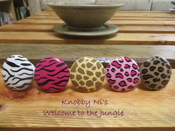 Animal Print Hand Painted Drawer Knobs   Dresser Pulls - Welcome to the Jungle - Giraffe Print - Zebra Print - Leopard Print