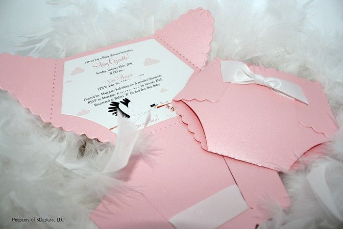 Diaper Baby Shower Invitation or Baby Announcement - Stork Design.