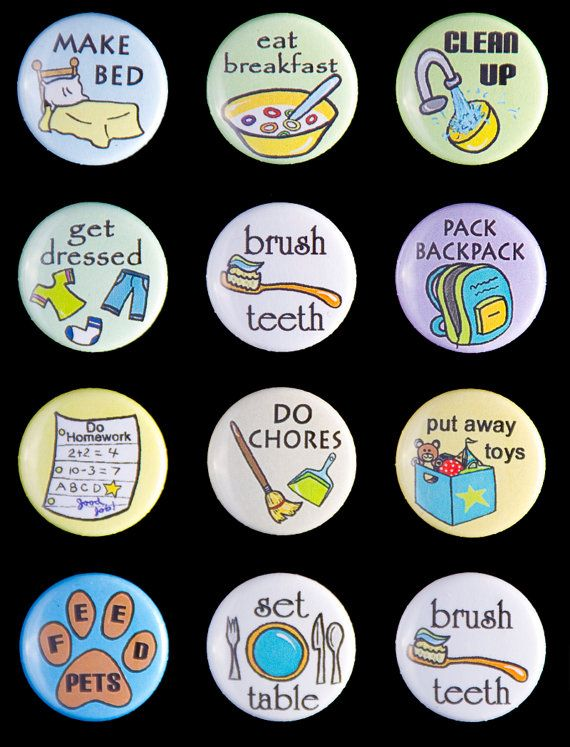BASIC CHORE MAGNET set- give each child a section of the fridge, then place these picture magnets in each child's section. They don't have to read to know what their responsibilities are