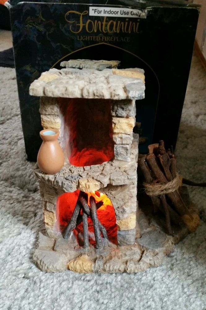 "FONTANINI ITALY RETIRED 6"" Lighted STONE NATIVITY VILLAGE 1998 FIREPLACE 94802 #Fontanini"