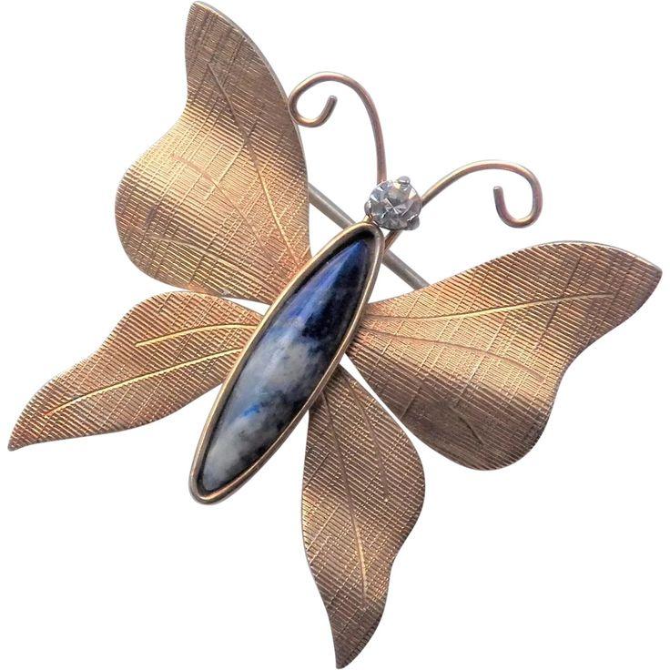 Multicolor enamel pearl butterfly vintage brooch pin jewelry