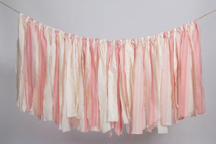 Fabric Scrap Banner, Fabric Garland, Custom Decor, Scrap Garland, Custom Nursery, Fabric Strip Banner, Rag Tie Banner by MarigoldPoms on Etsy https://www.etsy.com/listing/248369633/fabric-scrap-banner-fabric-garland