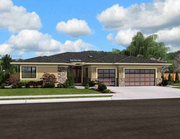 Modern Plan with Open Layout This one story modern ranch style home comes loaded with amenities and exudes style and grace. An extremely livable floor plan comes with an office, three generously sized bedrooms and a three car garage. House Plan No.325421