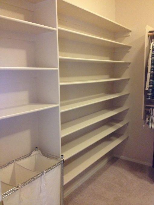 DIY Master Closet Shoe wall, I've wanted to gut my master closet for years and install a custom closet system.  What I decided I truly wante...