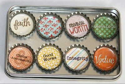 Young Women Values on Bottle Caps (could be used as a zipper pull for scripture case or as magnets)
