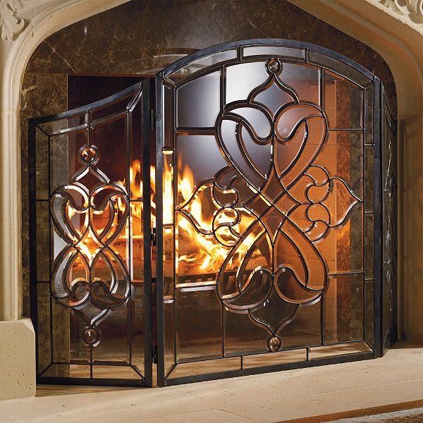 Isla Glass Fireplace Screen