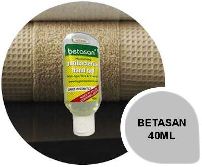 Betasan 40ml: Betasan antibacterial hand gel is the next step in hand sanitization.  Formulated with Aloe Vera and Vitamin E Betasan moisturises and leaves the users hands fresh and sanitized.