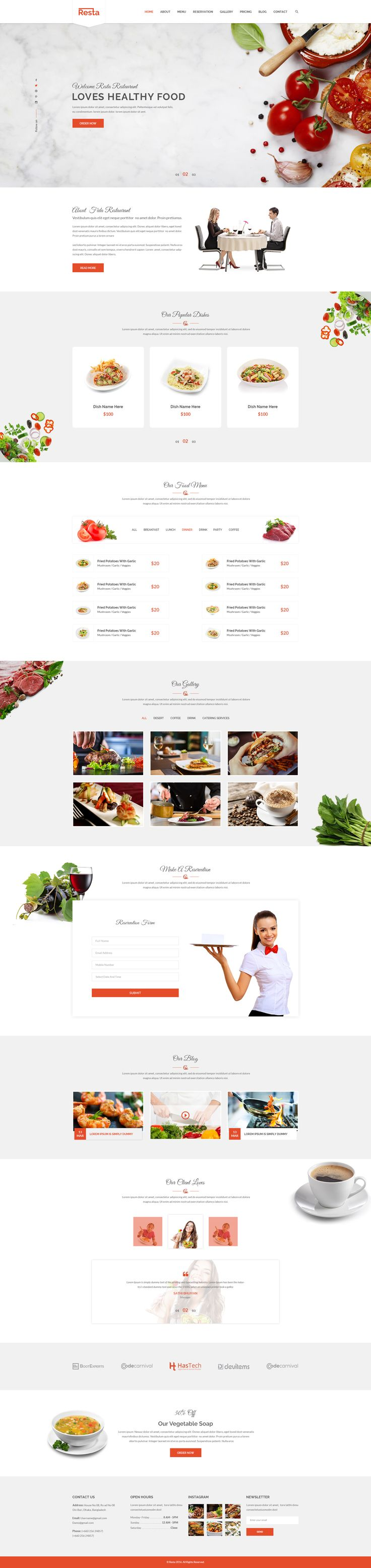 Resta - Restaurant PSD Template #psd #cooking #modern • Download ➝ https://themeforest.net/item/resta-restaurant-psd-template/18720225?ref=pxcr
