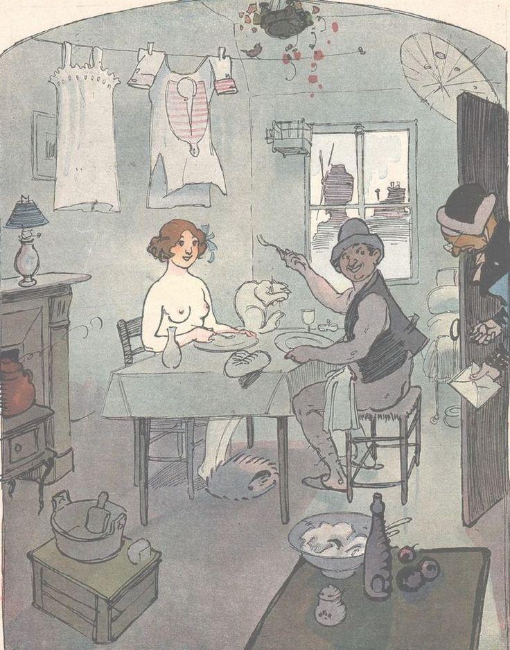 Le jour de la lessive - Couple Repas  - - Dessin Mirande - Gravure Ancienne 1912