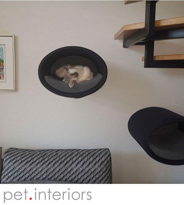 Simple Katzenh hle RONDO Wall in Filz zur Wandmontage