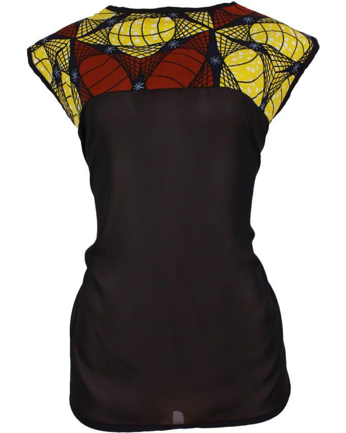 Simma Africa Black Kitenge African Print Chiffon Top | Buy online ...