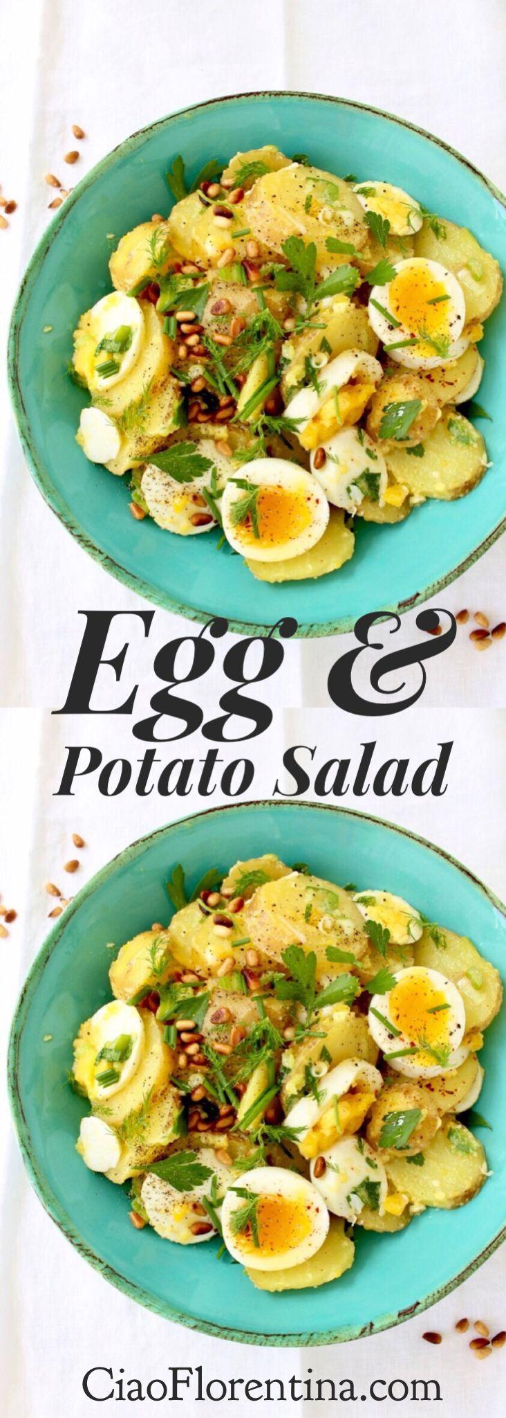 Rustic Egg and Potato Salad Italian Style, with Toasted Pine Nuts and Fresh Herbs   CiaoFlorentina.com @CiaoFlorentina