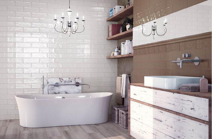 Modern rustic bathroom design idea with Bulevar tiles from Cifre.