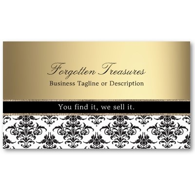 Elegant Vintage Black and White Damask business card with golden background for antique shops, vintage boutiques, fine photographers, beauticians and many other businesses. Pack of 100: $21.05 #damask #business