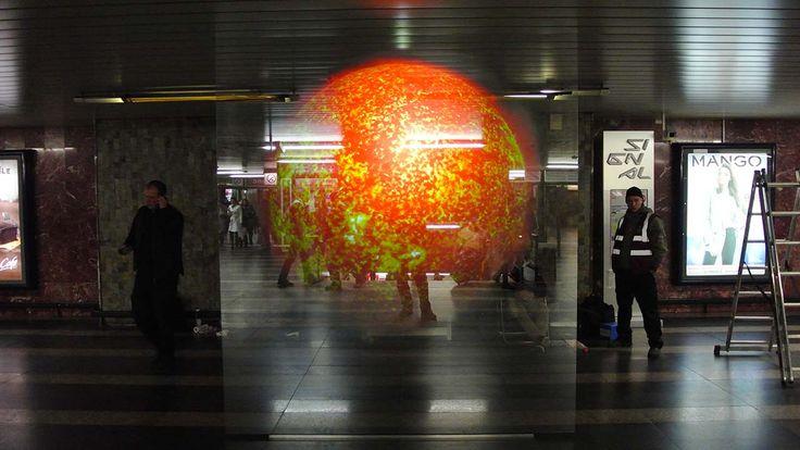 Sun, metro station Florenc, Prague #signalfestival #architecture #prague #lightart, #installation #videomapping www.signalfestival.com