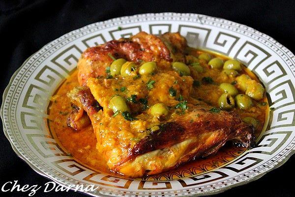 poulet au citron confit et harissa دجاج بالحامض مرقد والهريسة