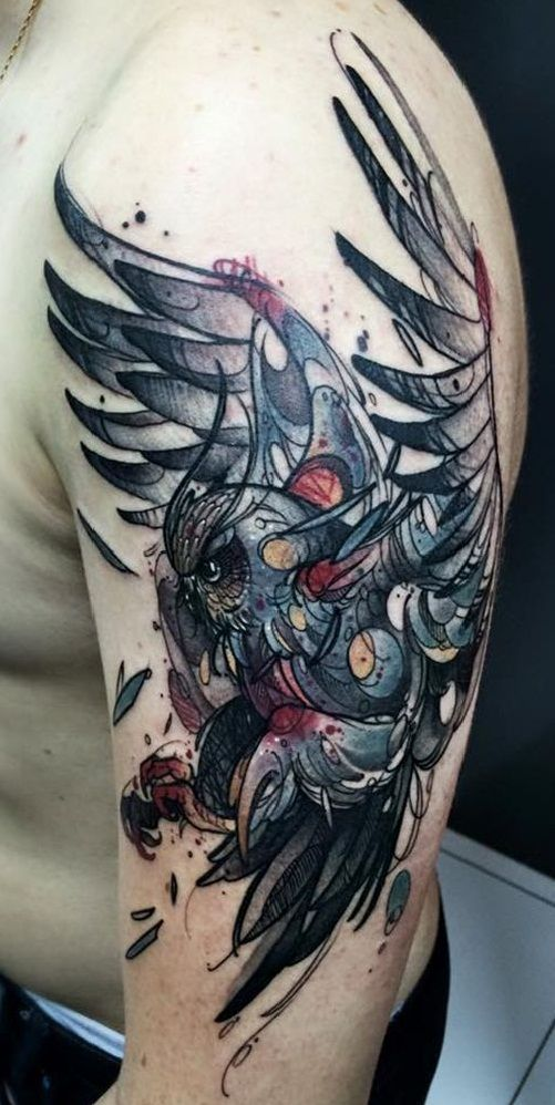 Scary Watercolor Owl Tattoo